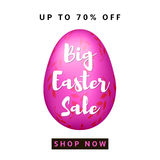 Big Easter Sale. Colorful background with pink egg. Vector Royalty Free Stock Photography