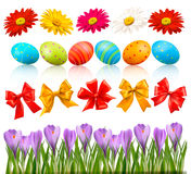 Big Easter set with traditional eggs and flowers Stock Images
