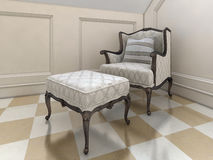 The big easy chair in the bathroom in English style. The big easy chair in the bathroom in English style, with bright upholstery and brown legs. 3D render Royalty Free Stock Images