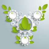 Big Eco Gear With Green Leaves 3 Options PiAd Stock Photo