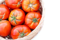 Big ecological tomatoes in a basket Royalty Free Stock Photos