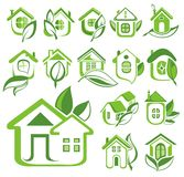 Ecology house icon set Stock Photos