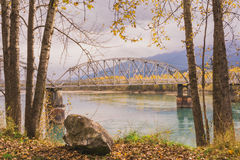 Big Eddy Bridge in Autumn Royalty Free Stock Images