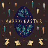Big egg happy easter with rabbit and carrot royalty free illustration