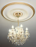 Big electric chandelier on ceiling Royalty Free Stock Images