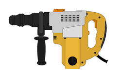 Big electric hammer drill. Color. Big electric hammer drill icon in black and yellow colors. Clip art illustration  on white Royalty Free Stock Photo