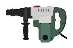 Big electric hammer drill. Vector clip art Royalty Free Stock Images
