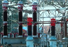 Big electrical breaker of a power plant Royalty Free Stock Photos