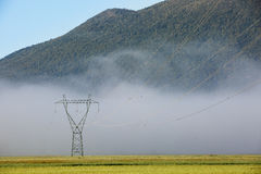 Big electricity high voltage pylon with power lines Stock Images