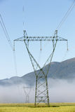 Big electricity high voltage pylon with power lines Royalty Free Stock Photo