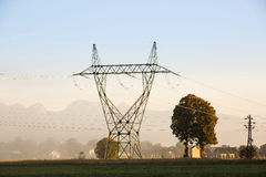 Big electricity high voltage pylon with power lines Royalty Free Stock Image