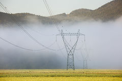 Big electricity high voltage pylon with power lines Royalty Free Stock Photography
