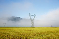 Big electricity high voltage pylon with power lines Royalty Free Stock Photos