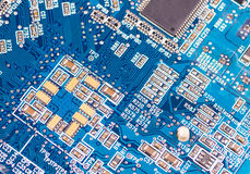 Big Electronic circuit board with radio components royalty free stock photos