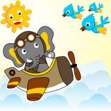 Big elephant in military plane stock illustration