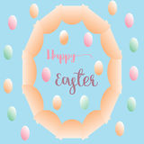 Big ellipse egg and colorful small eggs greeting card easter background Stock Image