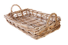 Big empty cane basket Stock Photos