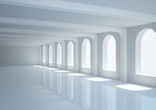 Big empty hall with columns and arched windows Royalty Free Stock Images