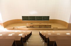 Big empty lecture hall. Upstairs view Stock Image