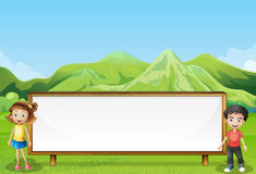 A big empty signage near the mountain. Illustration of a big empty signage near the mountain Royalty Free Stock Photography