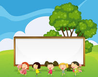 A big empty signboard at the back of the kids dancing. Illustration of a big empty signboard at the back of the kids dancing Royalty Free Stock Photography