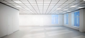 Big empty white room office with three windows. 3D big empty white room office 3D with three windows.Room illuminated by the sun and ceiling lights Royalty Free Stock Image