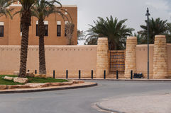Big entrance palissade and fortification in Riyadh, Saudi Arabia.  Royalty Free Stock Photography