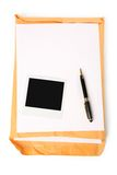Big envelope and notepaper Stock Image
