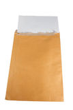 Big envelope on with white background. Brown A4 envelope and white empty paper inside Royalty Free Stock Images
