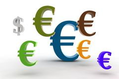 Big euro - little dollar. Big euro symbol with little dollar - 3d isolated illustration Stock Photography