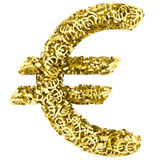 Big euro sign composed of many golden small euro signs on white. Background. High resolution 3d image royalty free illustration