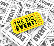 Big Event Golden Yellow Ticket Special Admission Access. The Big Event Words on a yellow ticket over many admission passes advertising a special show vector illustration