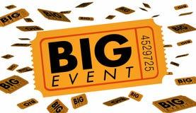 Big Event Ticket Special Admission Celebration. 3d Illustration stock illustration