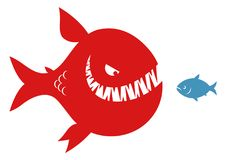 Big evil fish and small fish. Red smiling predator fish and blue little fish. Inequality and monopoly concept Royalty Free Stock Photography
