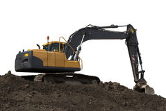 Big Excavator on dirt isolated on white Royalty Free Stock Images