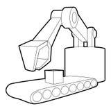 Big excavator icon, outline style Royalty Free Stock Photo