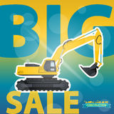 Big Excavator Sale. Digger Sale. Construction Machinery Sale. Discount Background. Big Excavator Sale. Digger Sale. Construction Machinery Sale. Discount and Royalty Free Stock Images