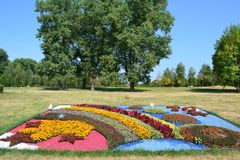 Big exhibition of flowers in nature Minsk royalty free stock photography