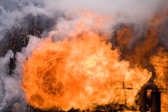 Big explosion in a industry plant Royalty Free Stock Photo