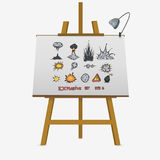 Big explosions set. Hand drawing on easel. Vector stock illustration Stock Photography