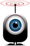 Big eye cartoon character transmitting radio waves Stock Image