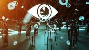 Big eye watching a group of people 3D rendering. Big eye with connections watching a group of people on dark background 3D rendering Stock Images