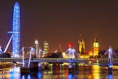 Big eye in London. Night image of London, September 2014 Royalty Free Stock Images