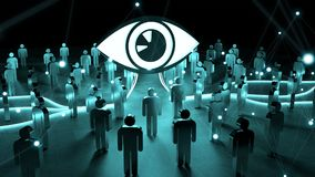Big eye watching a group of people 3D rendering. Big eye with connections watching a group of people on dark background 3D rendering Royalty Free Stock Images