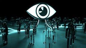 Big eye watching a group of people 3D rendering. Big eye watching a group of people on dark background 3D rendering Royalty Free Stock Image