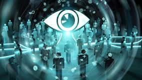Big eye watching a group of people 3D rendering. Big eye with connections watching a group of people on dark background 3D rendering Stock Image