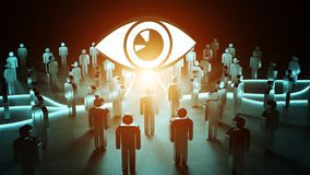 Big eye watching a group of people 3D rendering. Big eye watching a group of people on dark background 3D rendering Stock Images