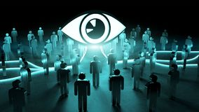 Big eye watching a group of people 3D rendering. Big eye watching a group of people on dark background 3D rendering Royalty Free Stock Image
