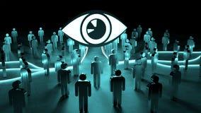 Big eye watching a group of people 3D rendering. Big eye watching a group of people on dark background 3D rendering Stock Photos