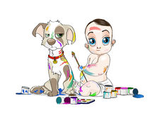 Big eyed baby and his snuffy puppy soiled by paints Stock Photos